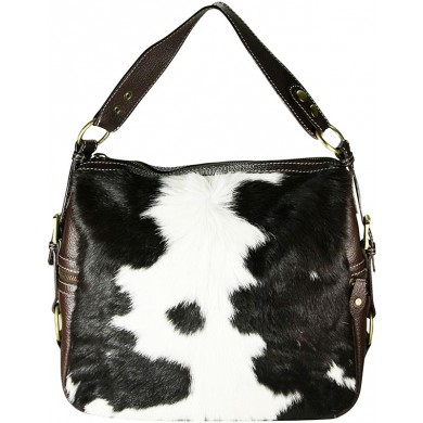 Genuine cow with hair on leather bag CHA001 Black / Brown / White