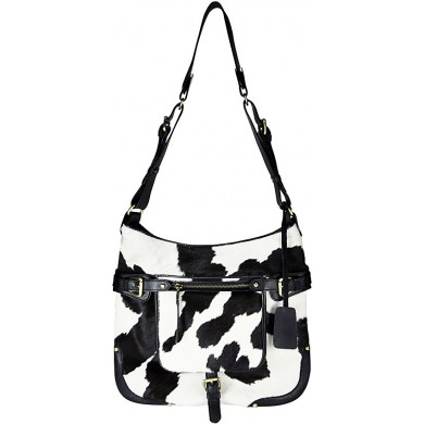 Genuine cow leather with hair on bag CHA050 Black / Brown / White