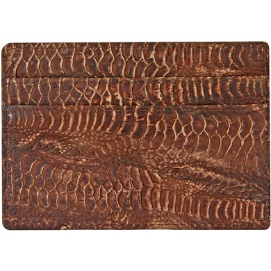 Genuine chicken / hen leather card holder HCC210 Brown