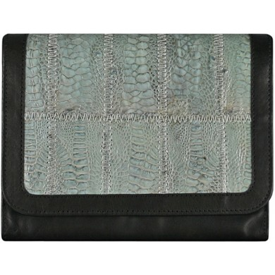 Genuine calf / chicken / hen leather wallet HWAL005 Grey