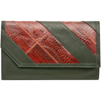 Genuine chicken / hen leather wallet HWAL007 Black / Brown