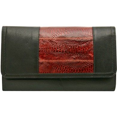 Genuine hen leather long wallet HWAL010 Black / Brown