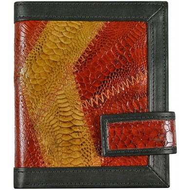 Genuine chicken / hen leather wallet HWAL011 Brown / Yellow