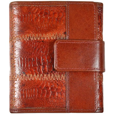 Genuine chicken / hen leather wallet HWAL016 Brown