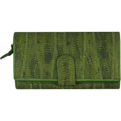 Genuine chicken / hen leather wallet HWAL350 Green