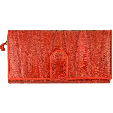 Genuine chicken / hen leather wallet HWAL350 Red