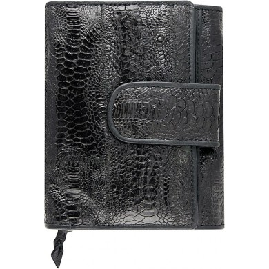 Genuine chicken / hen leather wallet HWAL351 Black