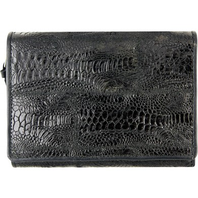 Genuine chicken / hen leather wallet HWAL387 Black