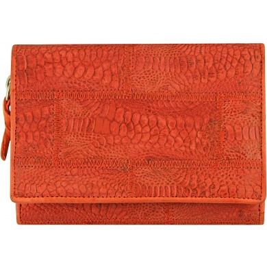 Genuine chicken / hen leather wallet HWAL387 Red