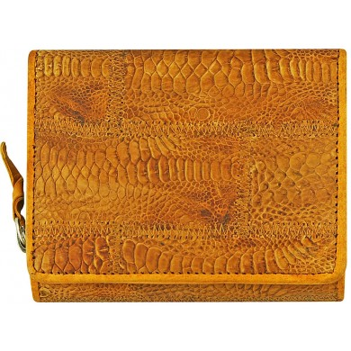 Genuine chicken / hen leather wallet HWAL388 Tan