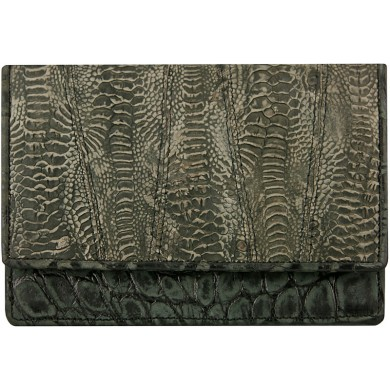 Genuine hen / chicken leather wallet HWAL504 D. Grey