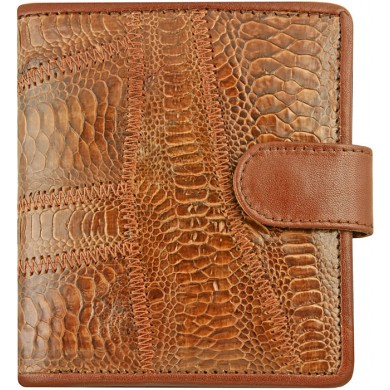 Genuine hen / chicken leather wallet HWAL505 Brown