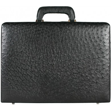 Genuine ostrich leather attache case OS044-01 Black