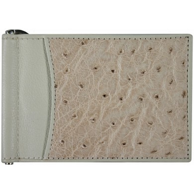 Genuine ostrich leather money clip OS2392 White