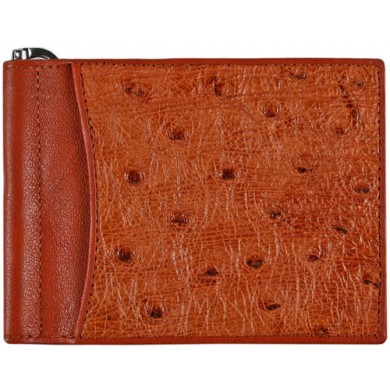 Genuine ostrich leather money clip OS2392A Peanut