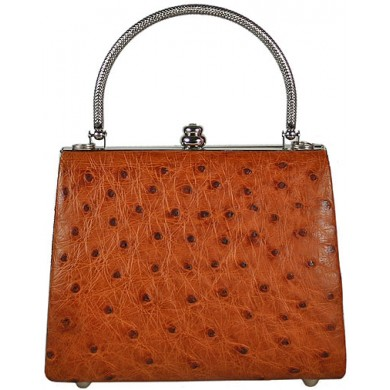 Genuine ostrich leather bag OSBAG113 Peanut