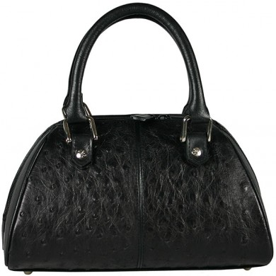 Genuine ostrich leather bag OSBAG128 Black
