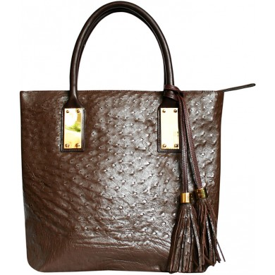 Genuine ostrich leather bag OSBAG143M Brown