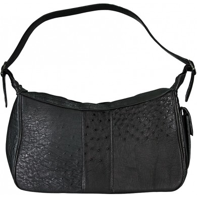 Genuine ostrich leather bag OSBAG182 Black