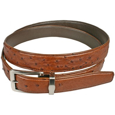 Genuine ostrich leather belt OSBELT001 Peanut