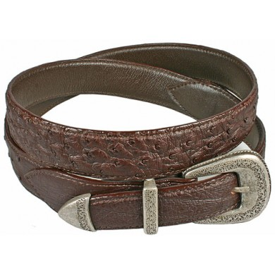 Genuine ostrich leather belt OSBELT002 Brown