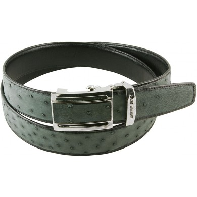 Genuine ostrich leather belt (auto buckle) OSBELT004-B Grey
