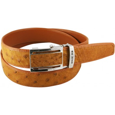 Genuine ostrich leather belt OSBELT004-B Tan