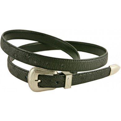 Genuine ostrich leather belt OSBELT005 Black