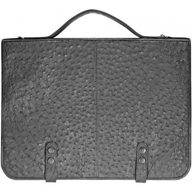 Genuine ostrich leather briefcase OSBRIEF001 Black