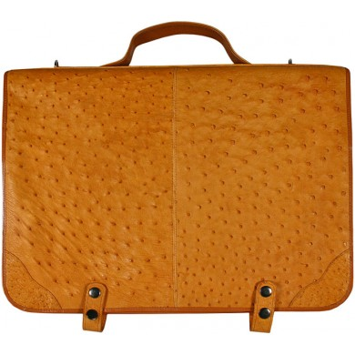 Genuine ostrich leather briefcase OSBRIEF001 Tan