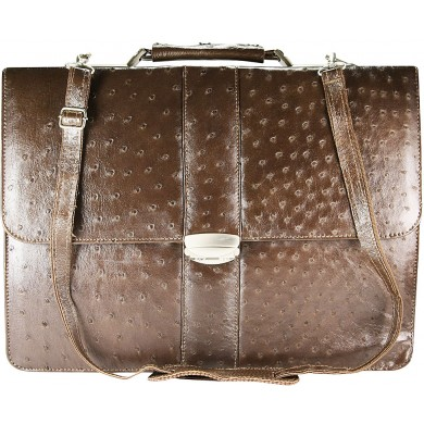 Genuine ostrich leather briefcase OSBRIEF8801 Brown