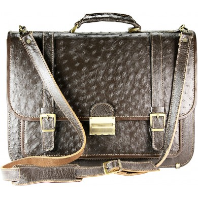 Genuine ostrich leather briefcase OSBRIEF8803 Brown