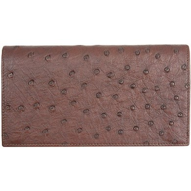 Genuine ostrich leather wallet OSLW101 Brown