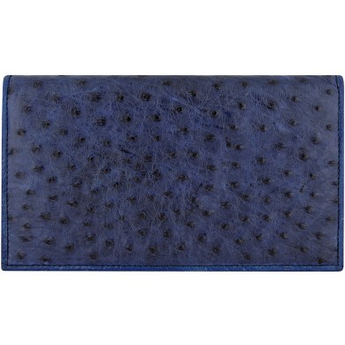 Genuine ostrich leather exclusive wallet OSLW801E Midnight Blue