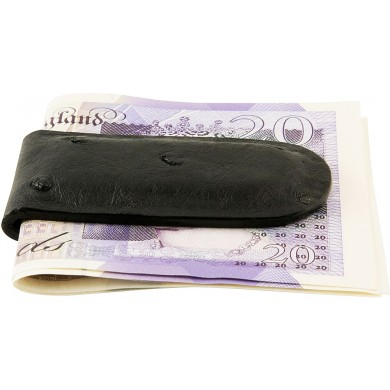 Genuine ostrich leather money clip OSMCLIP01 Black