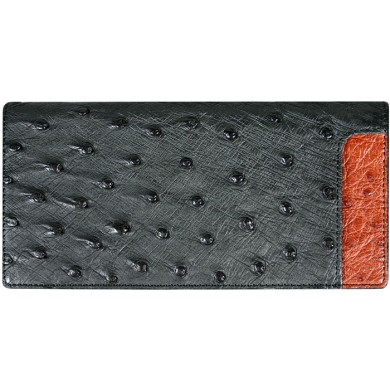 Genuine ostrich leather wallet OSW2-875A Black