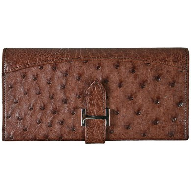Genuine ostrich leather exclusive wallet POS143 Brown