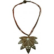 Coconut shell with sterling silver inlay necklace N131