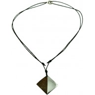 Coconut shell with sterling silver inlay necklace N153