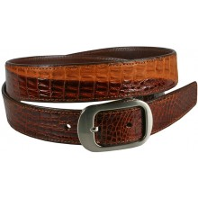 Genuine alligator leather belt 102C2 Brown