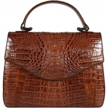 Genuine alligator leather bag 8805-11 Brown