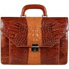 Genuine alligator leather briefcase AL046-02 Brown