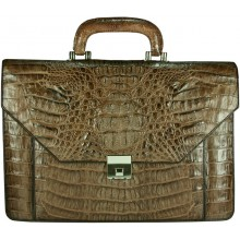 Genuine alligator leather briefcase AL046 Brown