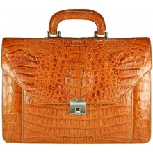 Genuine alligator leather briefcase AL046 Tan
