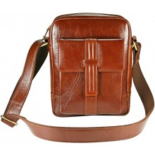 Genuine buffalo leather messenger bag BBAG5255 Brown