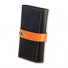 Premium cow leather handmade wallet EL-PM-3 Black / Orange