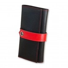 Premium cow leather handmade wallet EL-PM-3 Black / Red