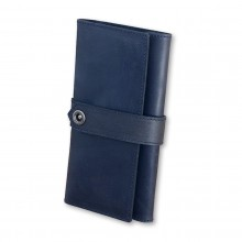 Premium cow leather handmade wallet EL-PM-3 Midnight Blue