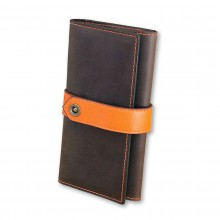Premium cow leather handmade wallet EL-PM-3 Brown / Orange