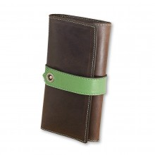 Premium cow leather handmade wallet EL-PM-3 Brown / Light Green